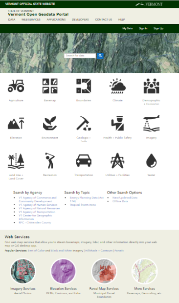 Homepage for the Vermont Open Geodata Portal